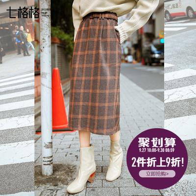 七格格小清新半身裙秋装女2018新款韩版chic学院风中长款格子裙子