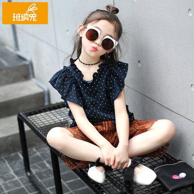 女童套装夏装2018新款夏季中大童儿童版时尚洋气雪纺短袖两件套