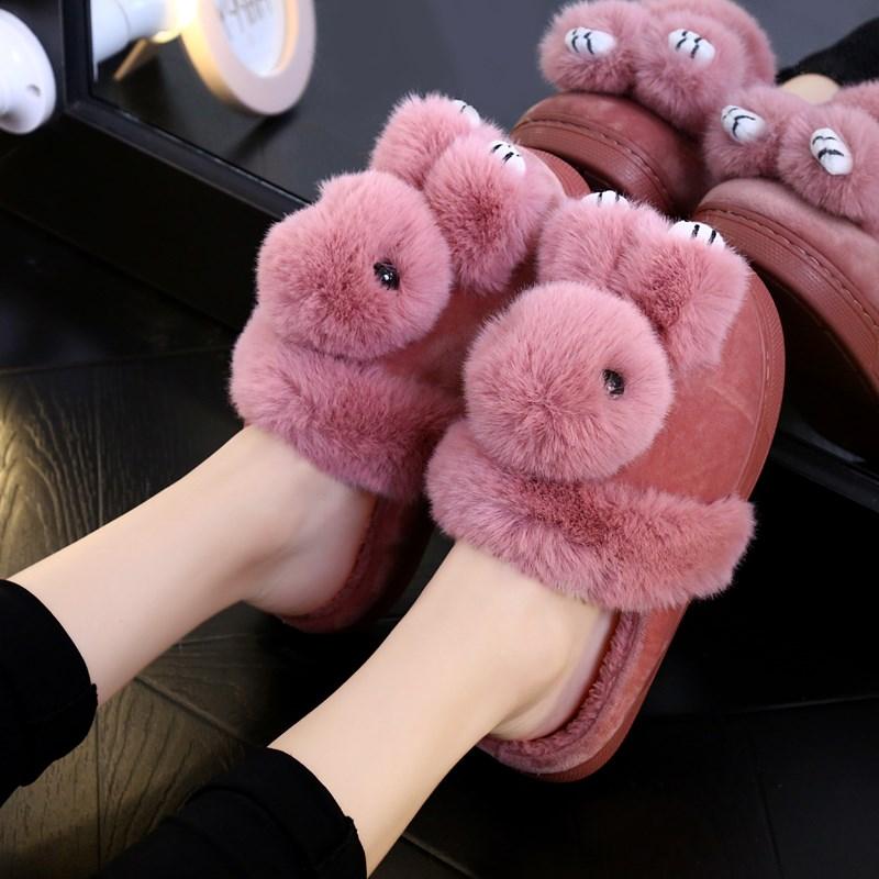 儿童棉拖鞋冬季男童女童小公主可爱卡通小兔子防滑保暖棉托鞋