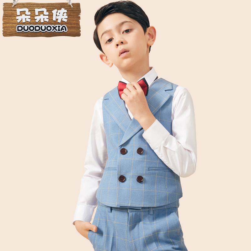 夏花童小孩中大童马甲套装主持人礼服男