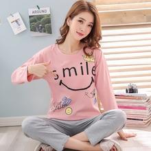 家居服可出门新款长袖女士针织棉睡衣春秋可外穿韩版休闲甜美套头图片