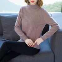 2018冬季加厚新款羊毛针织衫高档短款高领修身打底衫上衣百搭潮