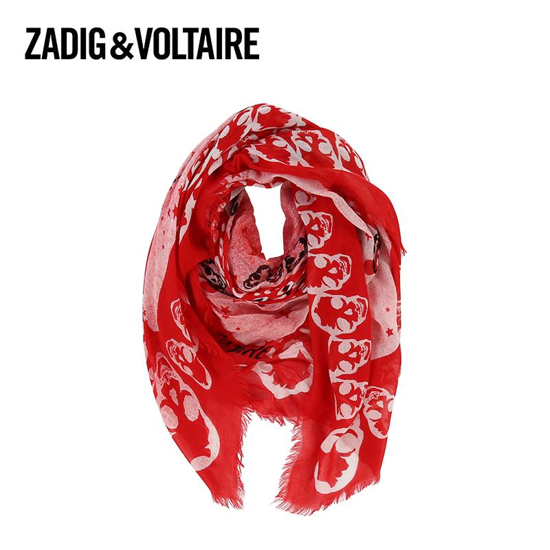红色花纹围巾