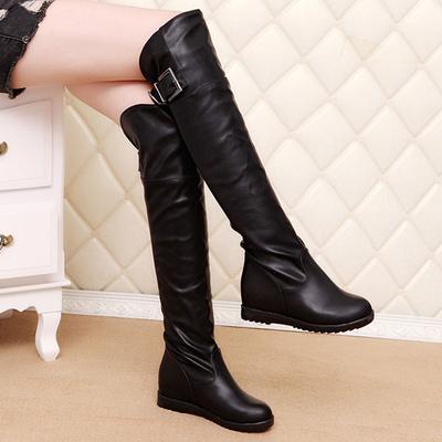 春秋新款靴子女高筒骑士靴冬季过膝长靴内增高女鞋大码平底长筒靴