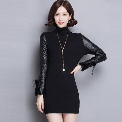 高领皮袖打底衫女冬真皮黑色中长款羽绒袖毛衣配皮草马甲长袖针织