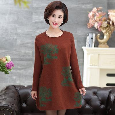 秋冬季时尚妈妈装羊毛短裙中老年中长款宽松长袖针织衫圆领连衣裙