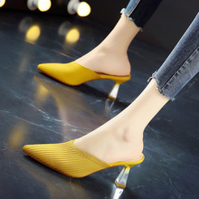 Cloth Breathable Princess Shoes Early Summer of 2019 New Type Spiked High-heeled Shoes Comfortable Middle-heeled Baotou Sandals and Slippers