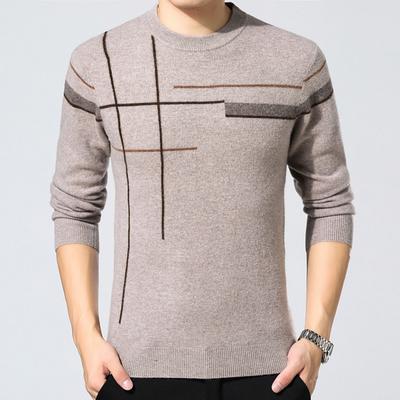 100%纯山羊绒衫鄂尔多斯市男士新款圆领时尚休闲商务套头打底毛衣