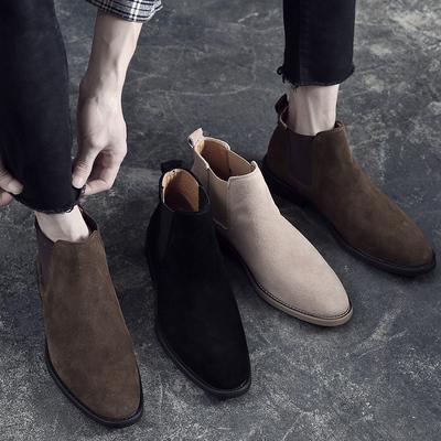 2019春季男士尖头马丁靴反绒磨砂皮英伦风切尔西靴发型师皮鞋高帮