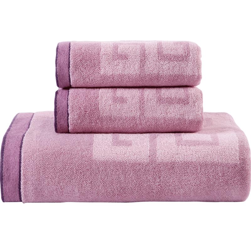 金号纯棉三件套巾毛巾两条浴巾一条全棉加大加厚花式线