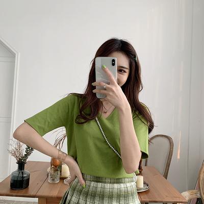 2019夏季新款韩版纯色V领宽松短袖绿色针织衫上衣女牛油果绿t恤潮