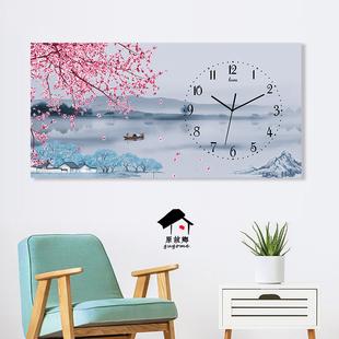 简约横向长方形北欧现代新中式挂钟挂表客厅餐厅艺术个性 饰钟表