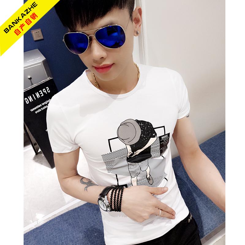 新品潮牌短袖T恤男夏季社会人紧身T恤上衣服精神小伙韩版半袖网红