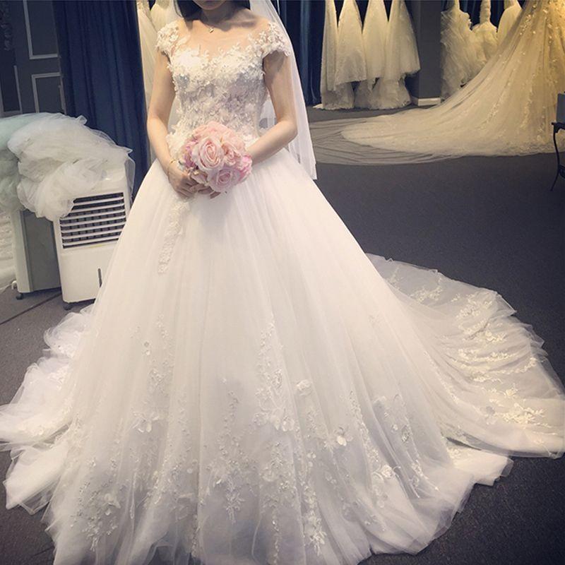 2018新款出租2018新款长拖尾婚纱礼服新娘结婚一字肩婚纱孕妇齐地