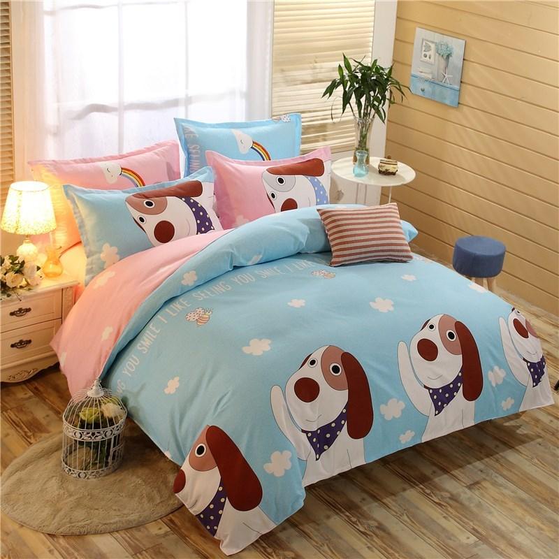 加厚磨毛儿童学生四件套床上用品床单被套卡通单双人亲肤棉三件套