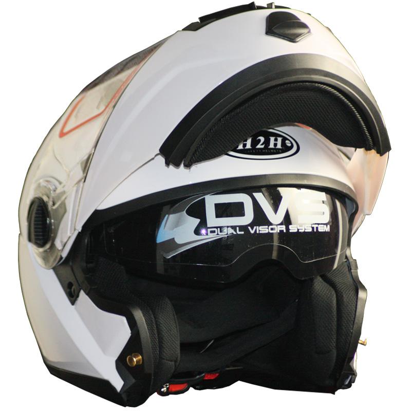 高档【阿肯】欧洲ECE标准快插扣H2H摩托车头盔双镜片四季款头盔揭