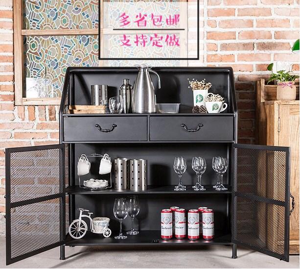 美式复古餐边柜厨房碗柜餐台柜子餐厅工业风铁艺备茶水柜储物柜