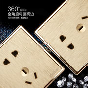 86 type wall home three open dual control 3 double electric light switch large plate champagne gold switch socket panel