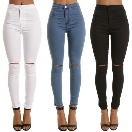 Laamei High Waist Casual Skinny Jeans For Women Hole Girls S