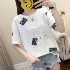 2019 summer short-sleeved t-shirt summer dress women's new Korean version of the college wind round neck loose half-sleeved shirt