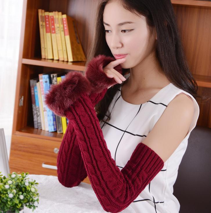 秋冬季加厚保暖半指可爱女士毛线针织学生时尚键盘手套一件包邮