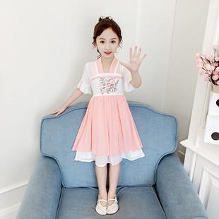 汉服女童襦裙夏季古装 连衣裙儿童夏装 唐装 裙子10 超仙女童装 12岁
