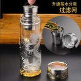 Double-glass high-grade crystal cup glass insulation of high-end men's business birthday gift custom lettering Cup