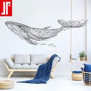 大型鲸鱼电视背景墙贴纸创意客厅沙发墙壁装饰卧室床头贴画自粘
