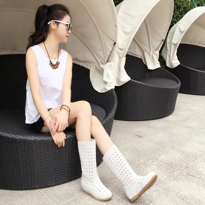 夏季靴子2018新款内增高女鞋全真皮靴磨砂牛皮镂空中筒真皮女凉靴