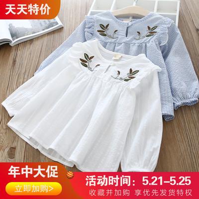 童装女童衬衫2019春秋新款韩版女宝刺绣条纹T恤小孩长袖洋气衬衫