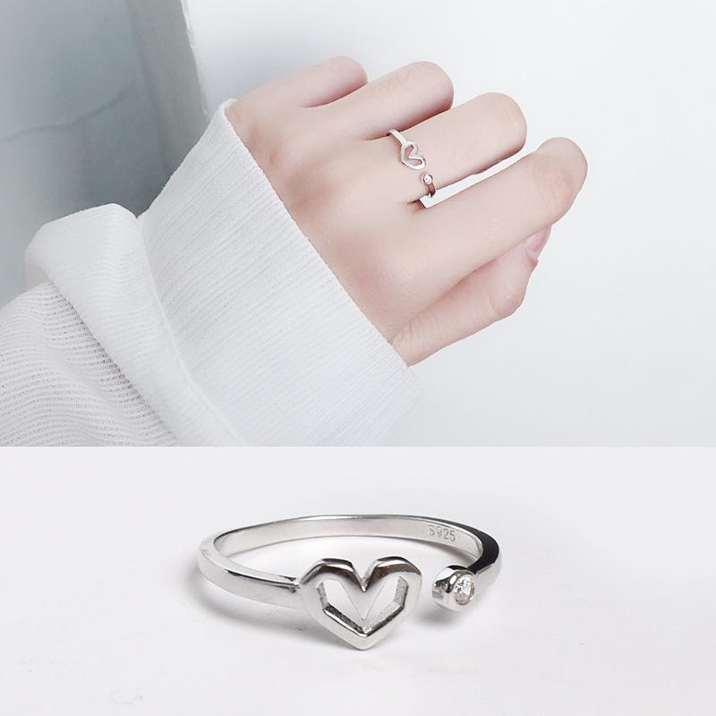 日韩风气质女款桃心指环925纯银爱心活口戒指百搭时尚饰品