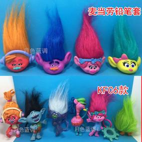 麦当劳魔发娃娃 肯德基魔发精灵 trolls 玩具巨魔法公仔波比笔套