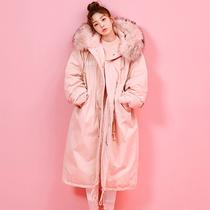 冬季韩版大毛领军工装棉衣女学生中长款过膝加厚棉袄羽绒棉服外套