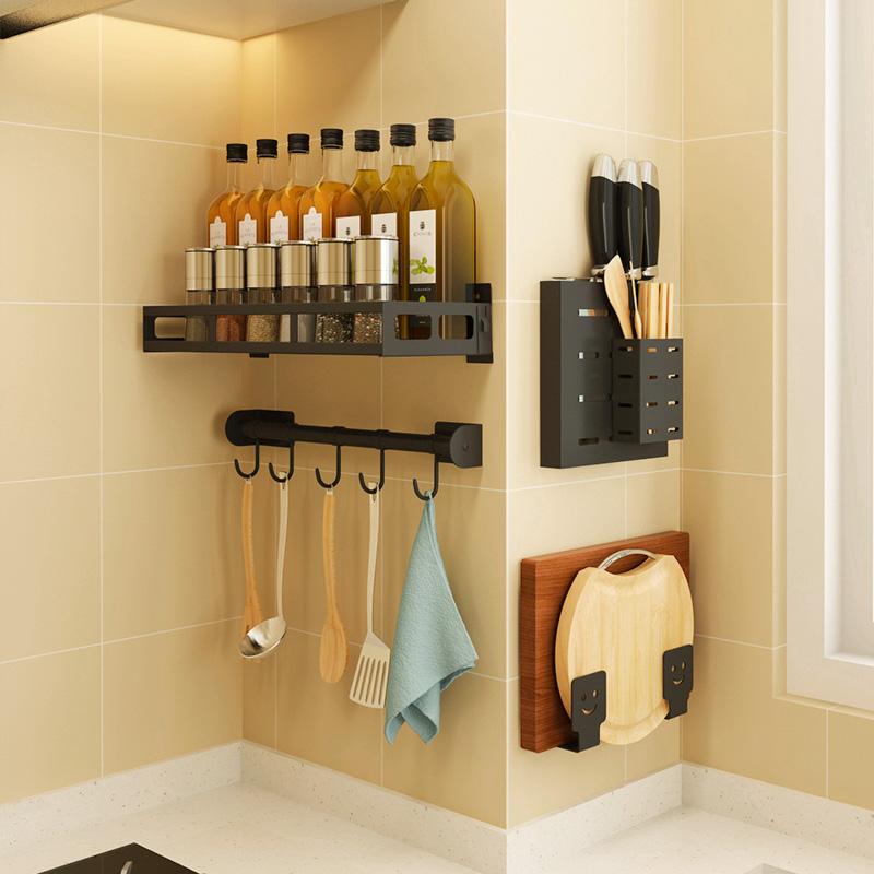 厨房收纳架置物架免打孔菜板架砧板壁挂式锅盖架子筷子调料架刀架