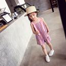 女童套装 2018夏装新款韩版时尚洋气撞色条纹露肩吊带+短裤两件套