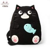 日本插画KINE猫 卡通帆布胸包女休闲旅行小背包 创意单肩包斜跨包
