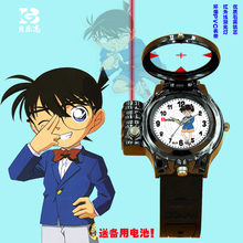Animated Conan infrared laser lamp luminous pointer children watch quartz watch boy student sports fund