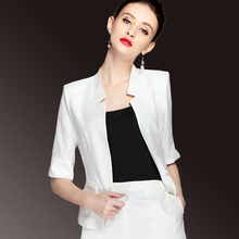 Summer small suit women's jacket silk new style of self-cultivation with a short seven-minute sleeve handsome silk small suit
