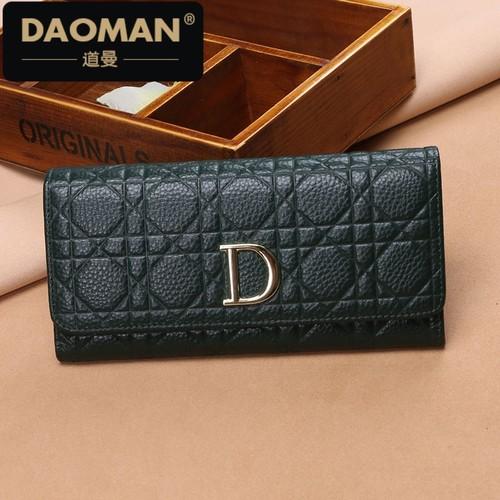 DAOMAN2018新款牛皮长钱包女长款日韩个性手拿女包折叠皮夹JJ819