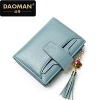 DAOMAN2018新款头层牛皮女包钱包短款多卡位多功能包钱夹xq806