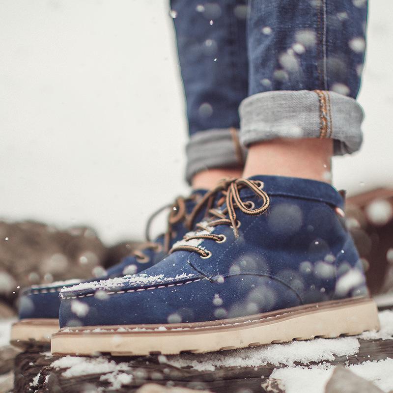 亚马逊秋冬新款雪地靴男士棉鞋反绒皮防滑冬季保暖加绒马丁靴