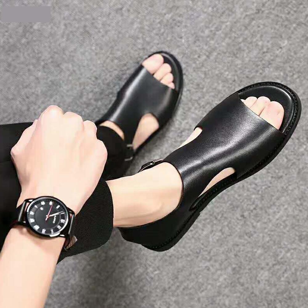 防臭脚头层牛皮鞋男沙滩鞋男士真皮凉鞋舒适时尚日常欧美英伦凉皮