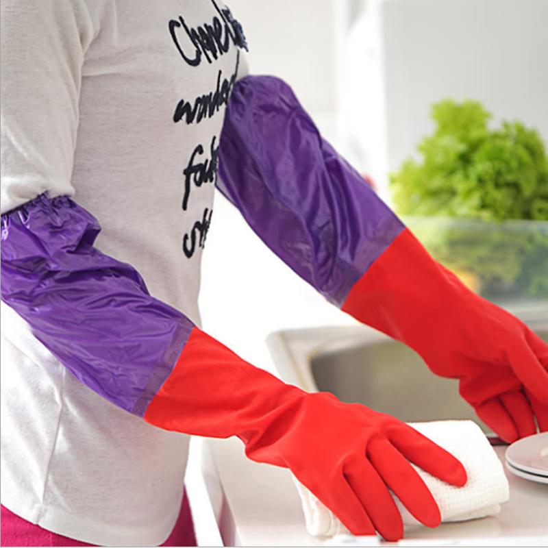 耐用型硅胶女一体保暖塑胶冬天加厚胶手套洗碗手套加绒家务家用