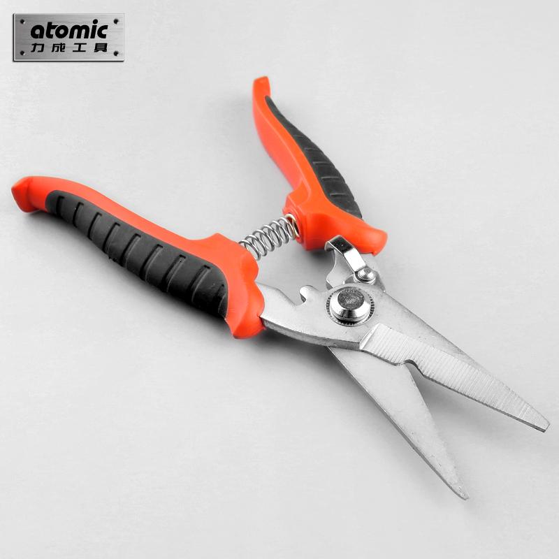 力成电工剪刀电子缆线槽剪8寸铁皮园艺家用果枝树不锈钢厨房剪刀