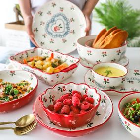 舍里 日式樱桃田园风陶瓷餐具家用盘子菜盘鱼盘米饭碗沙拉碗汤面