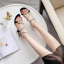 夏季珍珠凉鞋露趾平跟女鞋学生一字扣带罗马鞋百搭平底诩2017