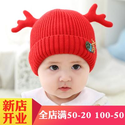 宝宝毛线帽子冬季男0-1岁鹿角婴儿护耳帽女童可爱套头3-6-12个月