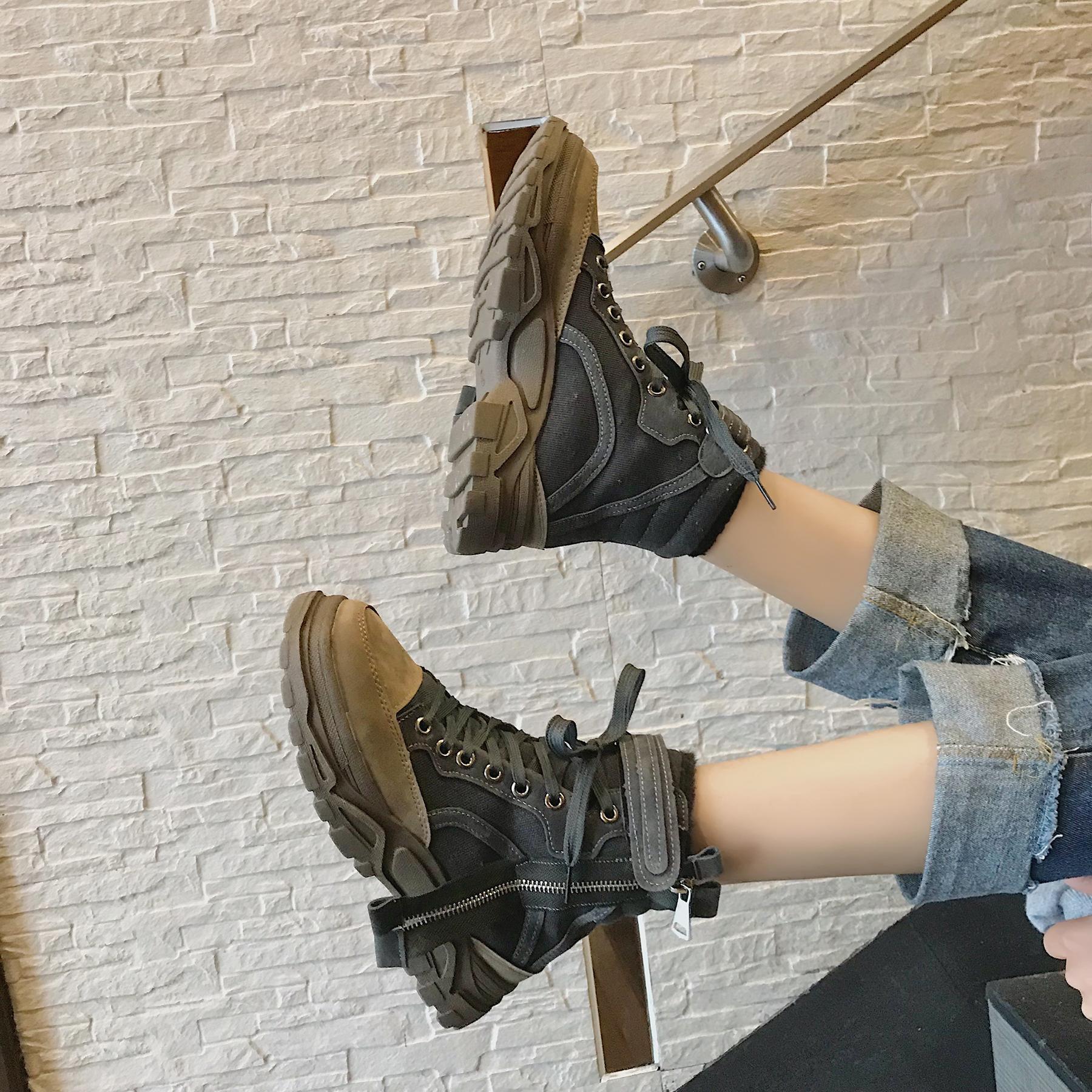 专柜正品冬季他她女鞋女靴子冬季新款2018英伦风学生韩版百搭ins