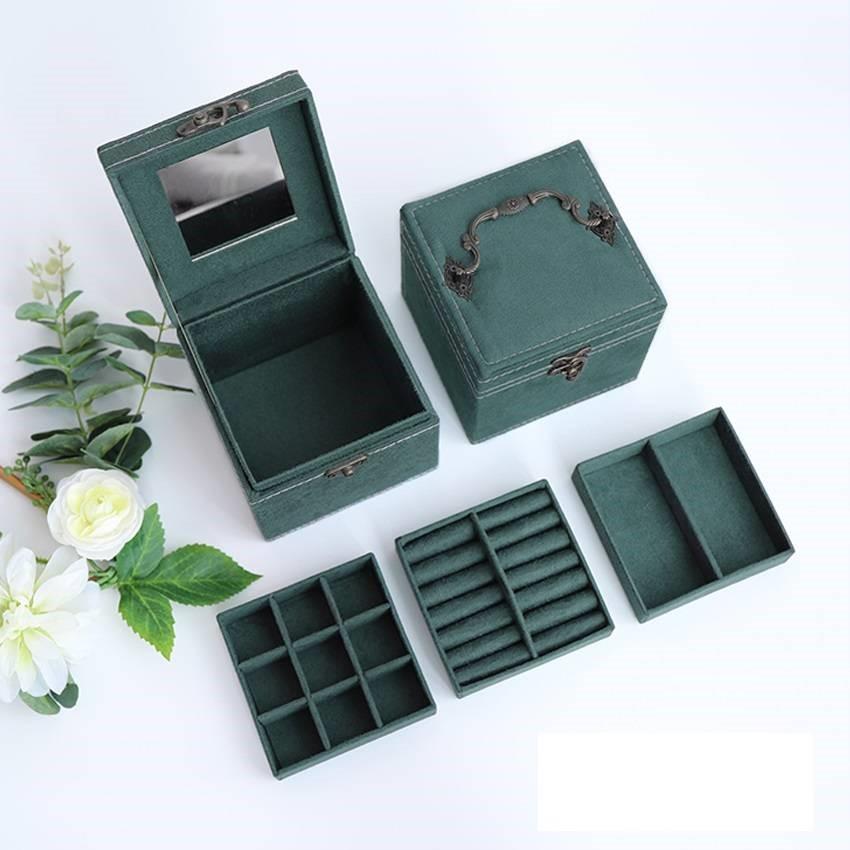 福乐墨绿首饰礼品盒中国风刺绣收纳盒带锁耳钉饰品盒会员积分儿童