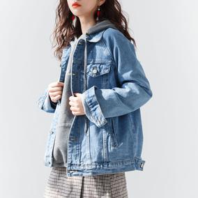 画风牛仔外套女宽松学生韩版bf男友风短外套牛仔衣上衣2018春季新